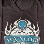 Damenshirt Logo voXXclub schwarz V-Ausschnitt 2