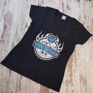 Damenshirt voXXclub Logo schwarz V-Ausschnitt