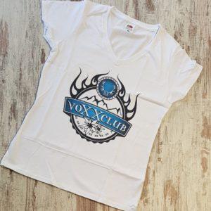 Damenshirt voXXclub Logo weiß V-Ausschnitt